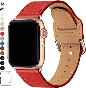 POWER PRIMACY Bands Compatible with Apple Watch Band 38mm 40mm 42mm 44mm, Top Grain Leather Smart Watch Strap Compatible for Men Women iWatch Series 6 5 4 3 2 1,SE (Red/Rosegold, 38mm/40mm)