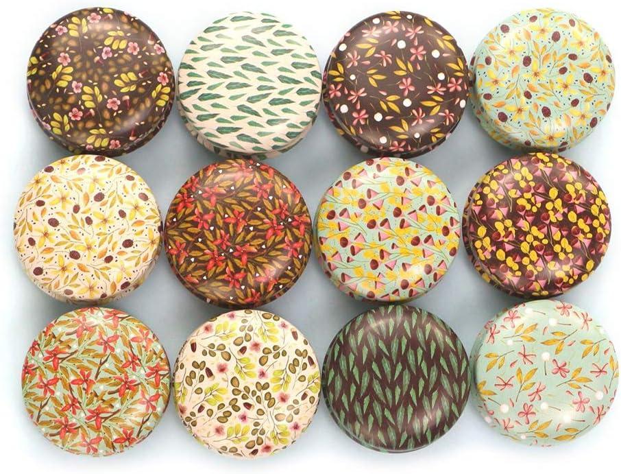 JOYKK 12 Piezas Mini Elegante Caja de Lata de Flores DIY Vela Tarro Bálsamo Caja de lápiz Labial Redondo y vacío - E #