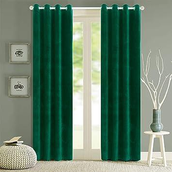 Green Velvet Blackout Curtains