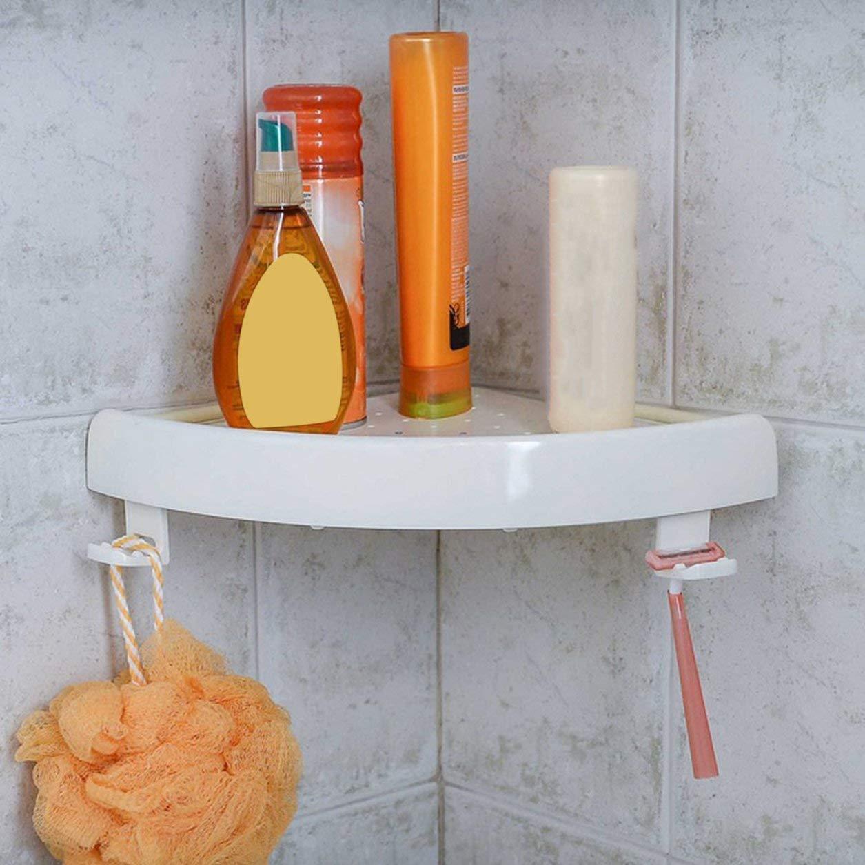Snap Up Corner Shelf Triangolo da parete per bagno Supporto per portaoggetti per montaggio a parete Ripiano non marcato con ganci Facile da installare, bianco Dailyinshop