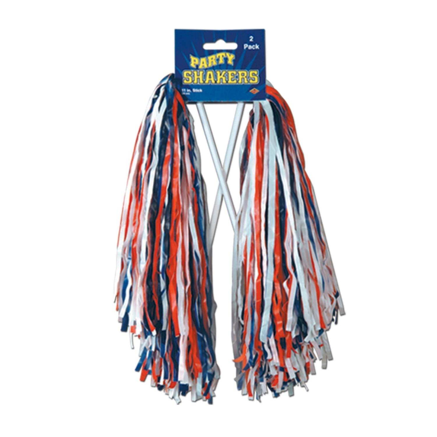Club Pack of 48 Pre-Packaged Red, White and Blue Football Themed School Spirt Poly Shakers 12''