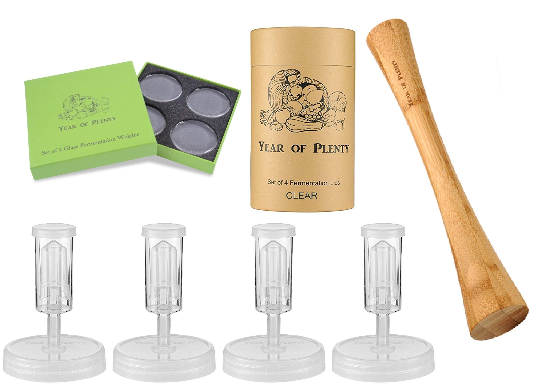 Year of Plenty Complete Fermenting Kit - Includes 4 Clear Fermentation Lids, 4 Fermentation Weights, One 12-inch Bamboo Cabbage Tamper (Clear) by Year of Plenty