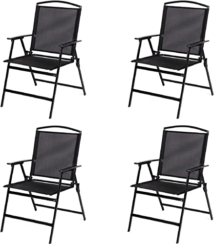 Bylring Patio Folding Sling Dining Chairs Portable Outdoor Indoor Backrest Chairs