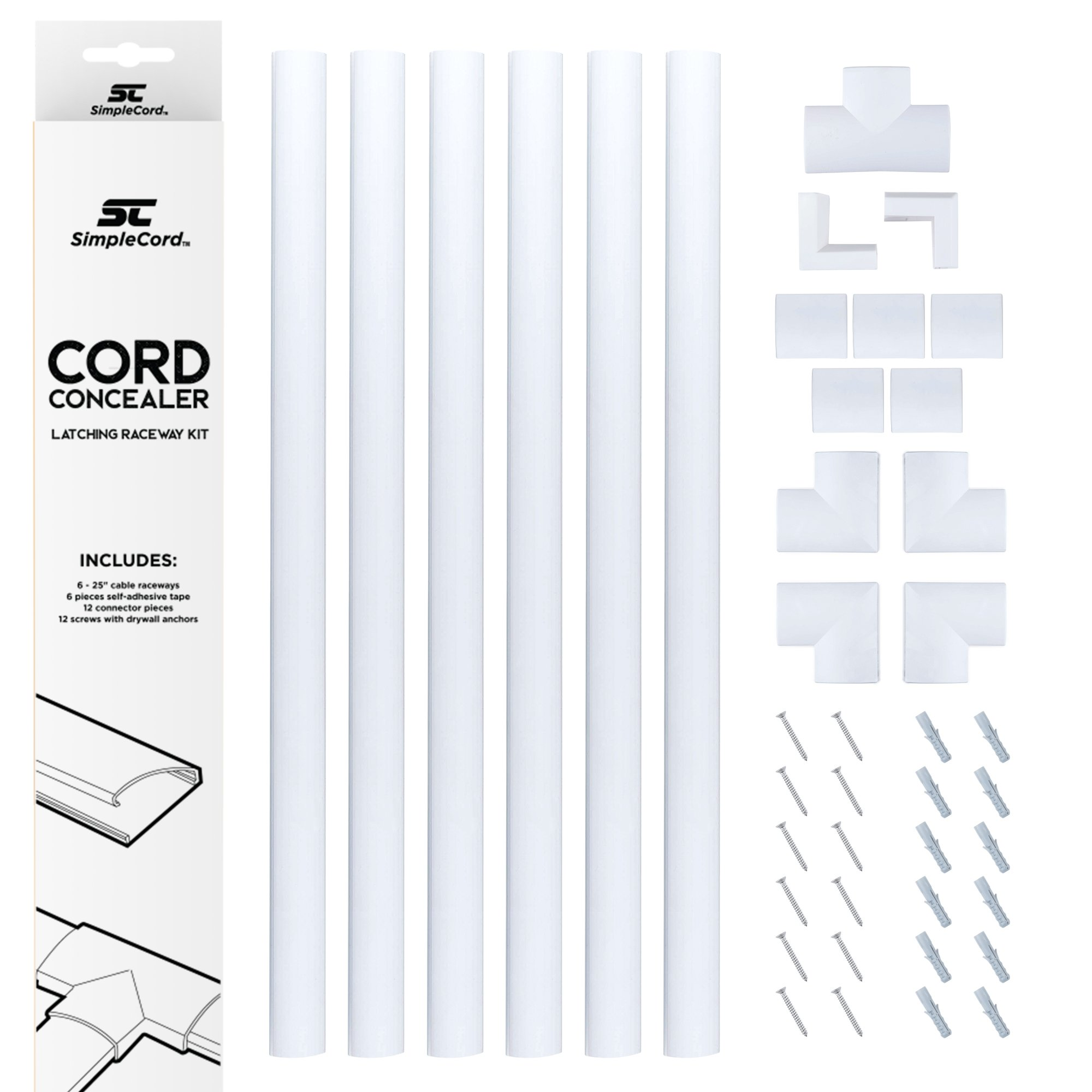 Cord Concealer System Covers Cables, Cords Wires - Cable Cover Management Raceway Kit Hiding Wall Mount TV Power Cords in Home Office - SimpleCord by SimpleCord (Image #1)