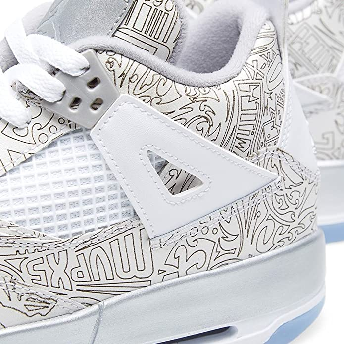 big sale 352ef 19be1 Amazon.com   Jordan Air 4 Retro Laser BG Big Kids Shoes White Chrome-Metallic  Silver 705334-105   Basketball