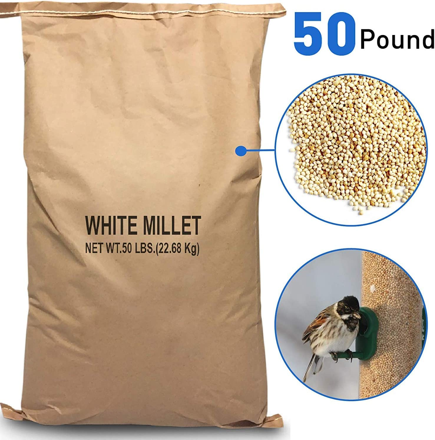 EasyGoProducts White Millet Wild Bird Food – 50 lb