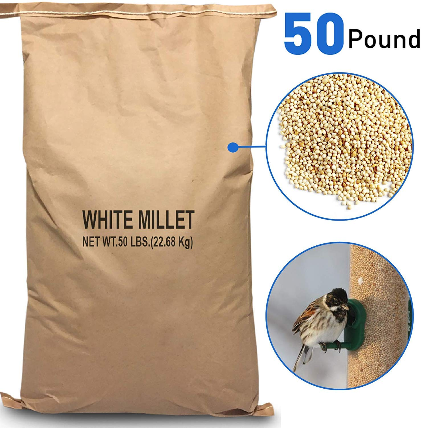 EasyGoProducts White Millet Wild Bird Food – 50 lb, Brown