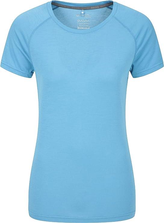 Mountain Warehouse Camiseta técnica de Las Mujeres de IsoCool - Camisa Redonda de la te del Cuello, Camisa Corta de Las Mangas, Tapa protegida UV de Las señoras Azul 32: Amazon.es: Ropa