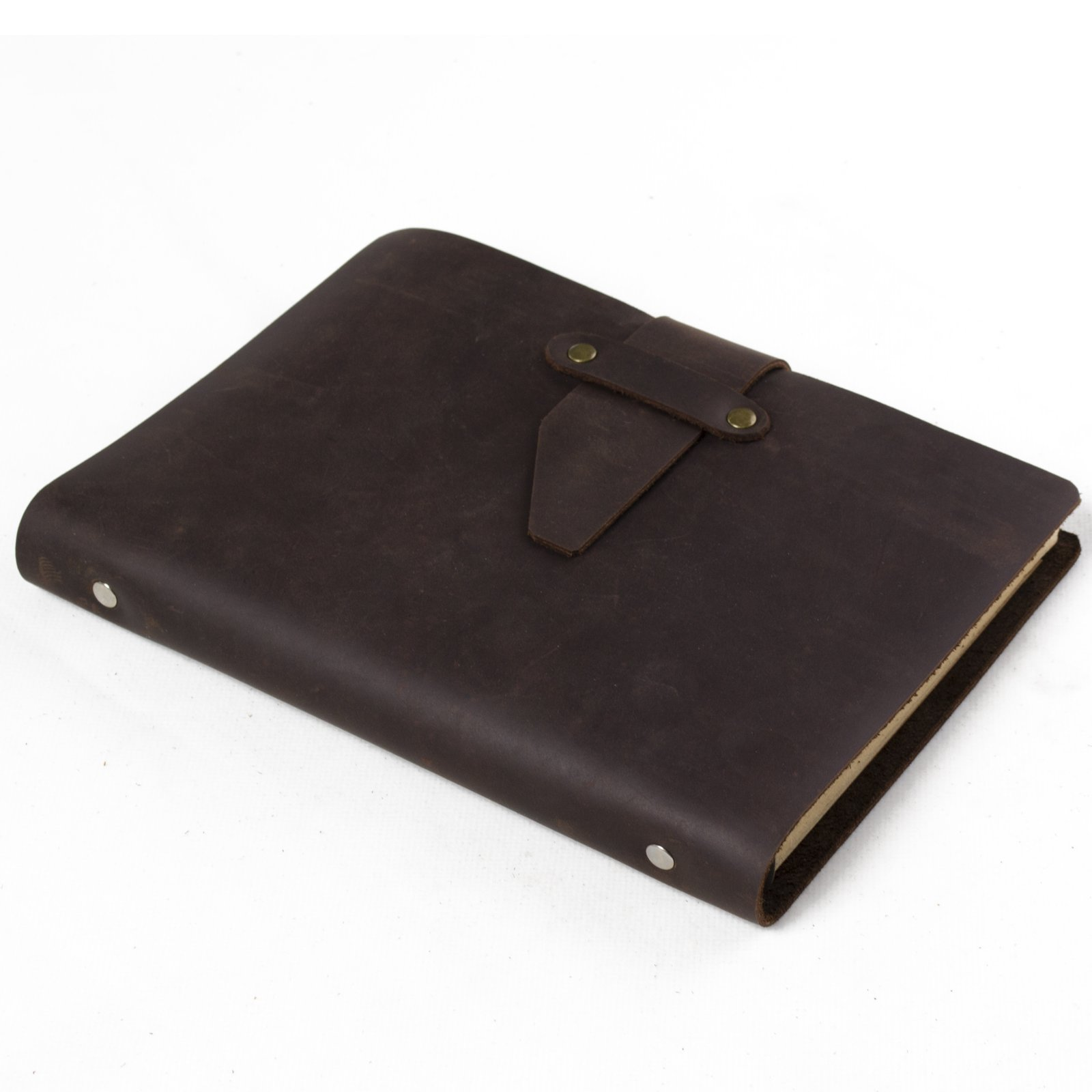 Simple Classic Leather Journal Refillable with Strap Loose Leaf Binder Lined Craft Paper A5 with Gift Box (Dark brown)