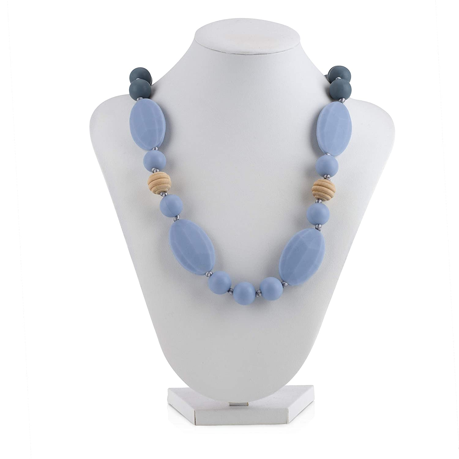 Nuby Baby Teething Trends Necklace for Moms with Oval, Round, Wooden Beads