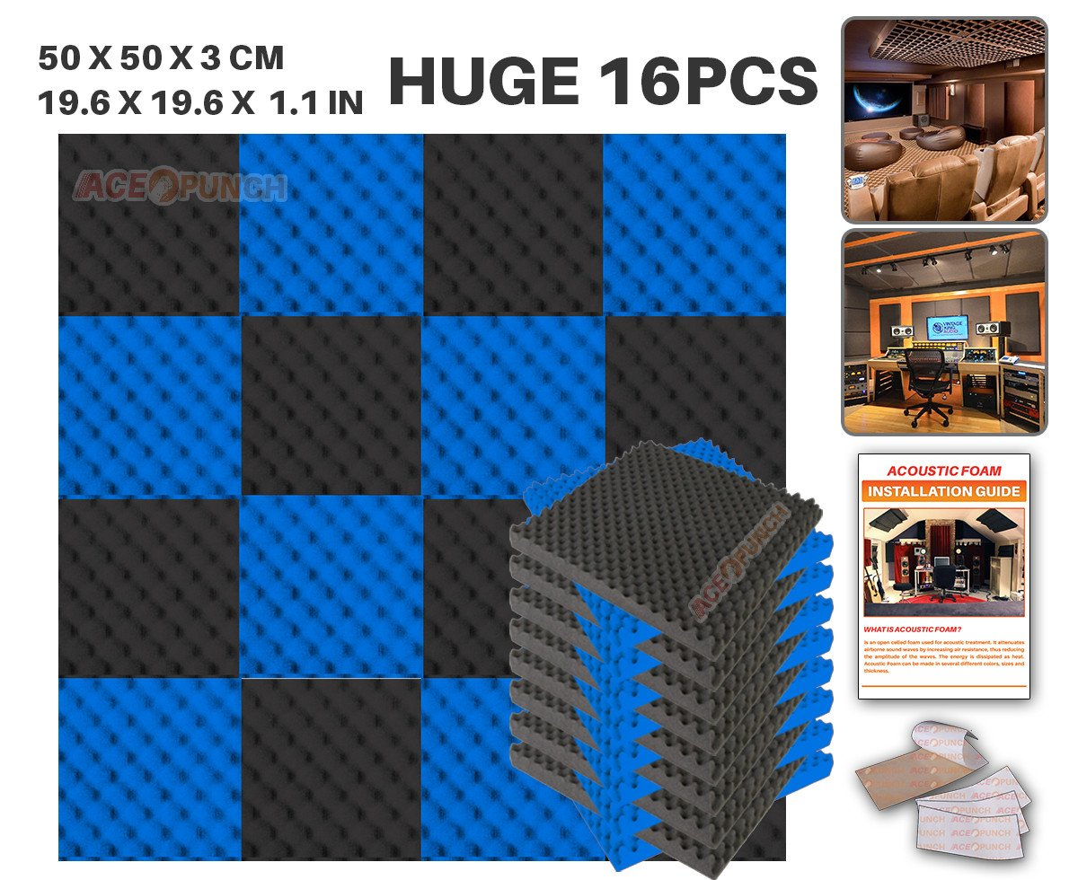 Acepunch 16 Pack BLACK AND RED Egg Crate Convoluted Acoustic Foam Panel DIY Design Studio Soundproofing Wall Tiles Sound Insulation with Free Mounting Tabs 9.8 x 9.8 x 1.2 AP1052 Ace Punch