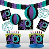 """The Party Continuous 40th Birthday Party Assorted Room Decorating Kit , Pack of 10, Multi , 10.7"""" X 1.3"""""""