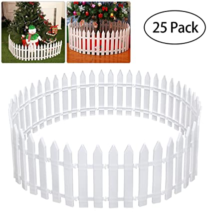 Ordinaire Tinksky White Plastic Picket Fence Miniature Home Garden Christmas Xmas  Tree Wedding Party Decoration (25