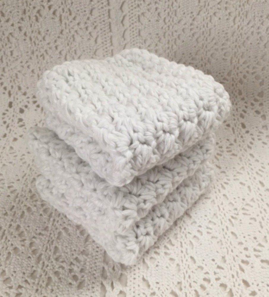 Handmade Cotton Kitchen Dish Cloths White Set of 3 Eco Friendly Wash Cloths Crochet Dishcloths