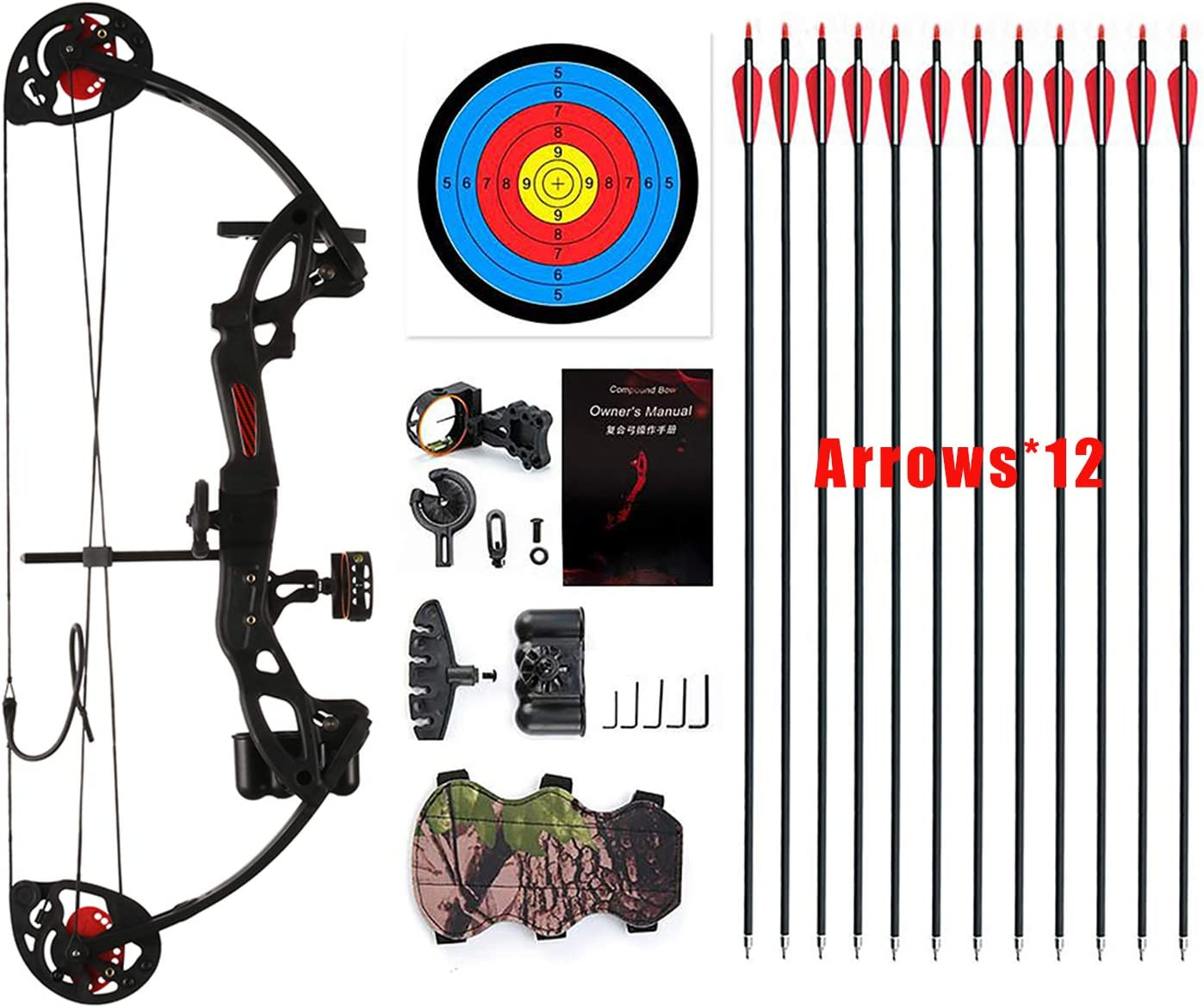 """PANDARUS Compound Bow Archery for Youth and Beginner, Right Handed,19""""-28"""" Draw Length,15-29 Lbs Draw Weight, 260 fps, Package with Archery Hunting Equipment"""