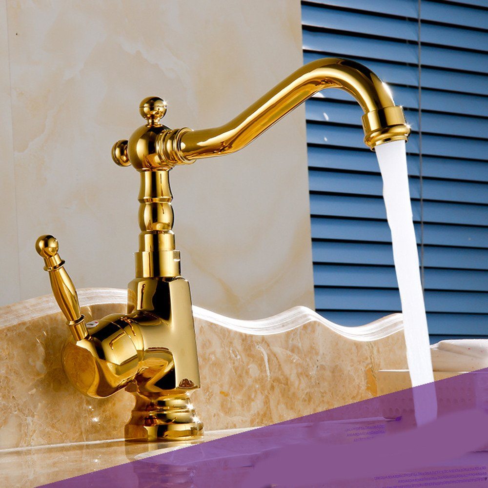 Hlluya Professional Sink Mixer Tap Kitchen Faucet gold-plated hand wash basin cold water tap Washbasin Faucet redation