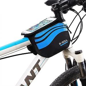 zjchao Bolsa Bicicleta Frontal 2-Lados alforja Delantera Bolsa de Manillar de 5.8 Pulgadas Móvil PVC Transparente Impermeable Bolso para MTB Bicicletas de montaña (Azul): Amazon.es: Deportes y aire libre