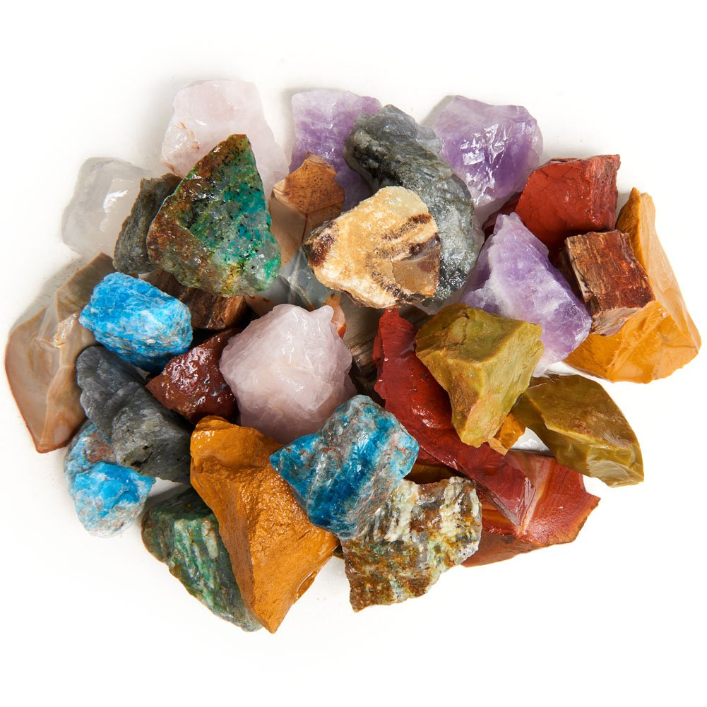 Digging Dolls: 4 lbs Natural 12 Stone Madagascar Rough Stone Mix - Large Size - 1'' to 1.5'' Average - Raw Rough Rocks for Arts, Crafts, Tumbling, Polishing, Gem Mining, Wire Wrapping and More! by Digging Dolls (Image #1)
