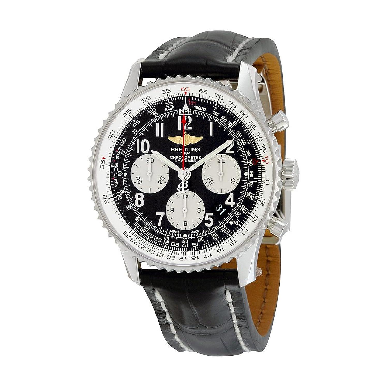 Breitling Navitimer 01クロノグラフブラックダイヤルブラック革メンズ時計ab012012 / bb02bkcd B01D1U55G4