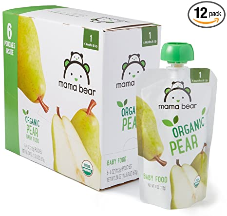 Amazon Brand - Mama Bear Organic Baby Food, Stage 1, Pear, 4 Ounce Pouch (Pack of 12)
