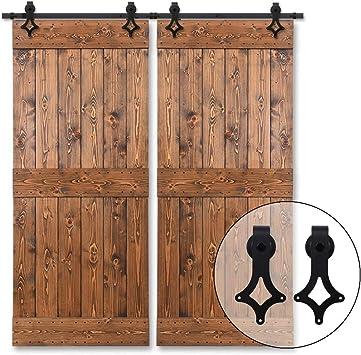 320cm/10.5FT Herraje para Puertas Corredizas Interiores y Puerta Deslizante para Puertas Correderas,Puerta de Granero Corredera de Madera,puerta doble: Amazon.es: Bricolaje y herramientas