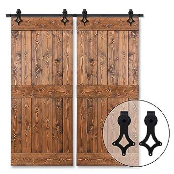 320cm/10.5FT Herraje para Puertas Corredizas Interiores y Puerta Deslizante para Puertas Correderas,Puerta de Granero Corredera de Madera,puerta doble: ...