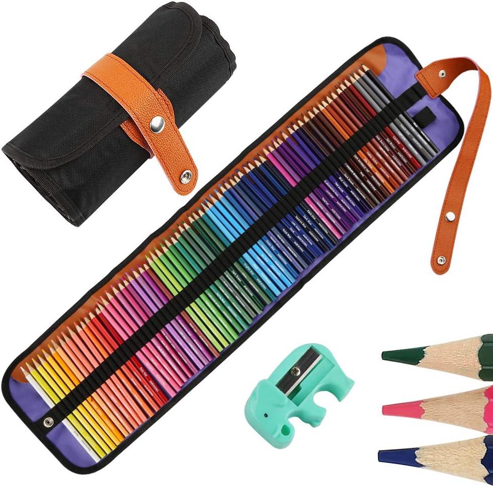 Nakeey Set de arte de lápices de dibujo para pintura y bocetos de mezcla de colores profesionales,lápices de colores de madera a base de cera suave para libros para colorear Multicolor
