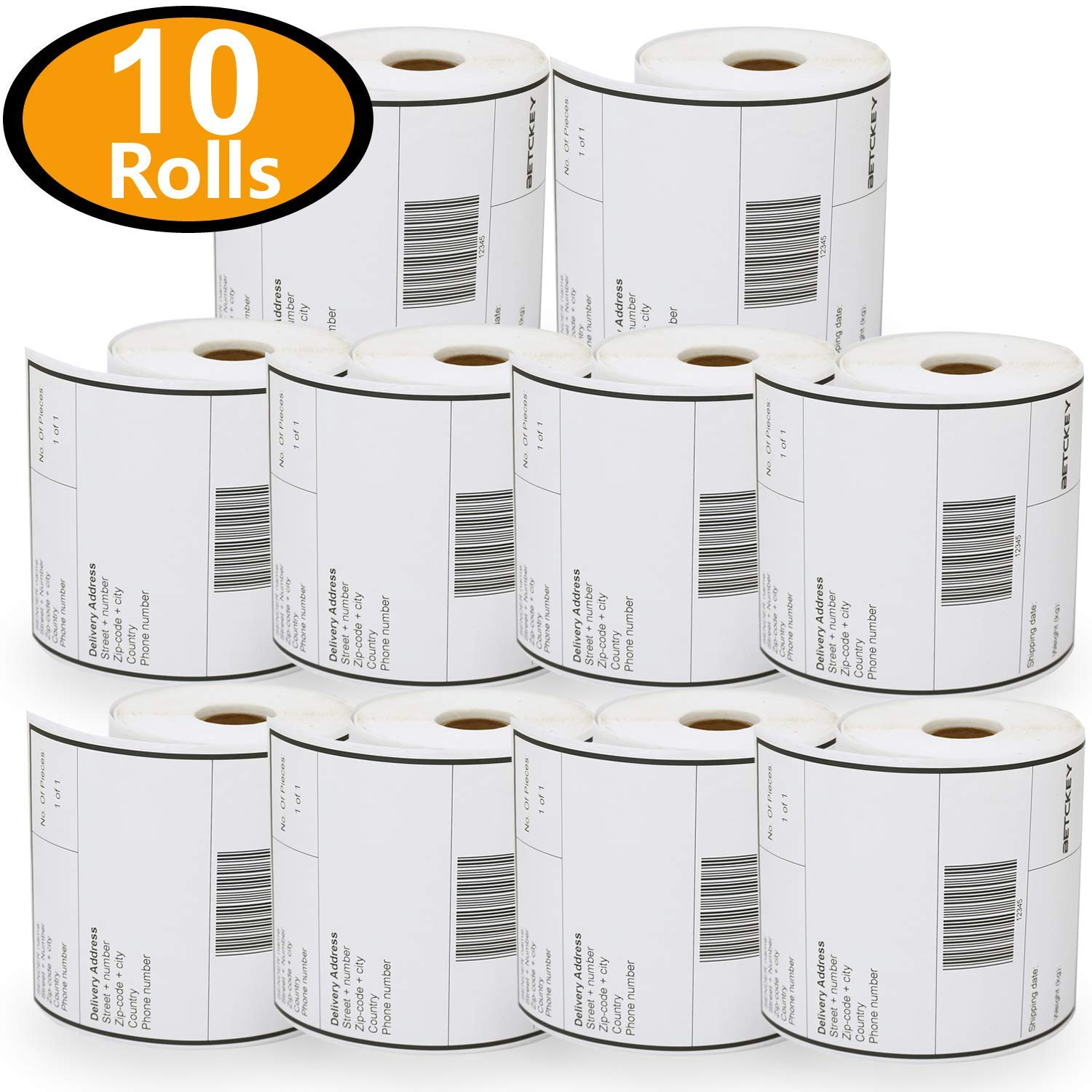 10 Rolls Dymo 1744907 Compatible 4XL Internet Postage Extra-Large 4'' x 6'' Shipping Labels, Strong Permanent Adhesive, Perforated by BETCKEY