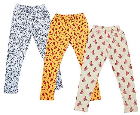 Indistar Girls Cotton Printed Leggings Pants Pack of 3
