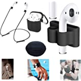 4 Pack Apple AirPods Wireless Headset Accessories (AirPods Headset Holder & AirPods Anti-lost Fastening Straps & AirPods Charging Cover & AirPods Charger Case) (Black)