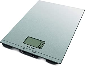 Salter Silver Glitter Glass Electronic Scale - Large, Ultra Slim Glass Platform, Large Easy to Read LCD Display, Add and Weigh Function, Aquatronic Function for Measuring Liquids in ml or fl.oz