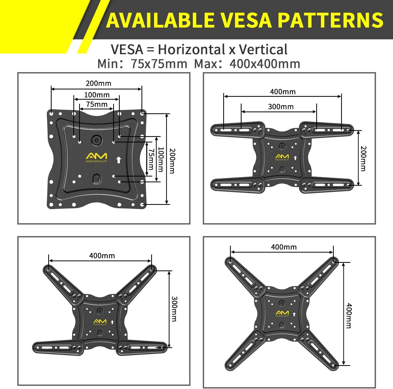 VESA 400x400mm Max TV Wandhalterung Schwenkbare Neigbare Halterung f/ür 26-55 Zoll LED LCD Flach /& Curved Fernseher oder Monitor bis zu 40KG