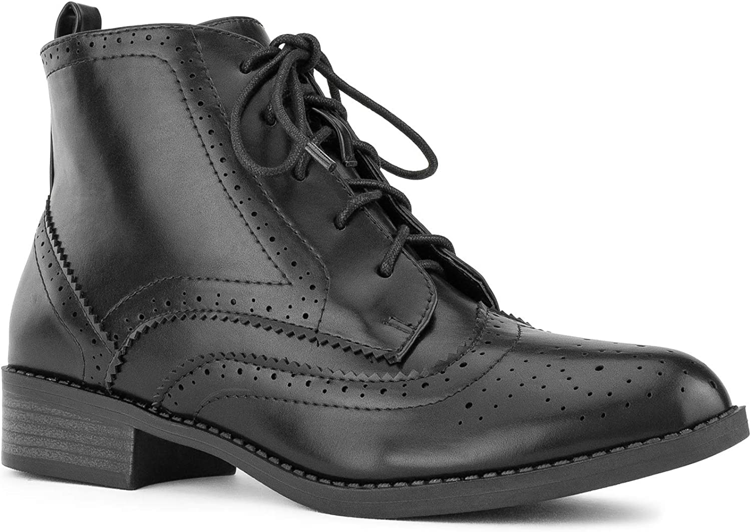 RF ROOM OF FASHION Women's Wing Tip Saddle Lace up Oxford Flats Ankle Boots Black