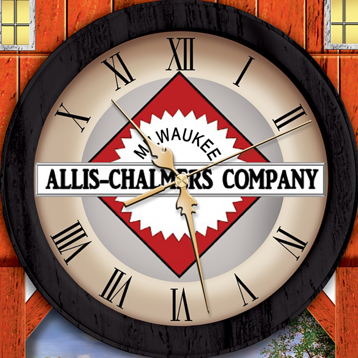 The Bradford Exchange Allis Chalmers Farm Cuckoo Clock with Logo and Dave Barnhouse Farm Imagery