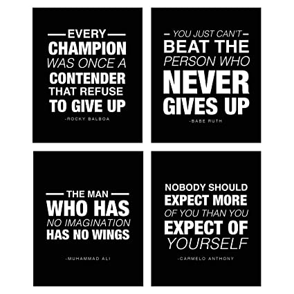 4 Pack Motivational Quote Workout Gym Posters 8 x 10 Inspirational Teen Boy Girl Athlete Fitness Success Sports Goal Hard Work Decor Great for
