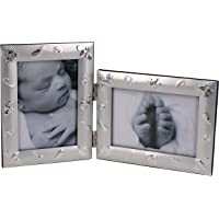 LEADEX Baby Love Double Silver Metal Folding Picture Frames,3.5 by 5 Inch,Vertical Horizontal Combo,Best Gift for Baby