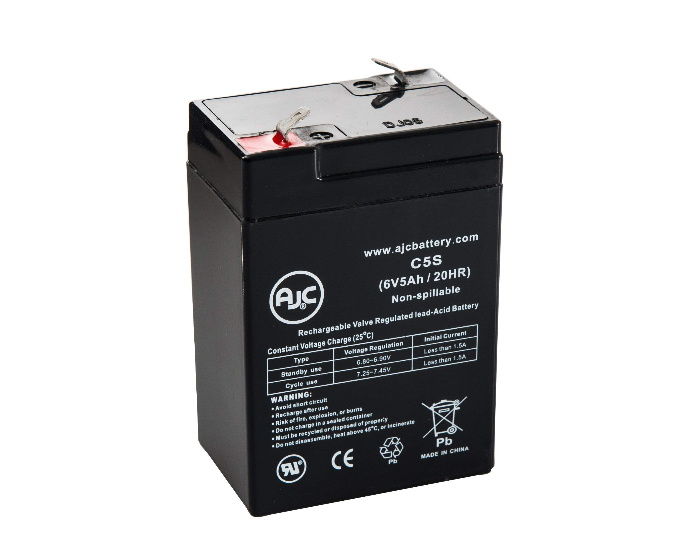 WKA6-5F 6V 5Ah Sealed Lead Acid Battery - This is an AJC Brand Replacement by AJC
