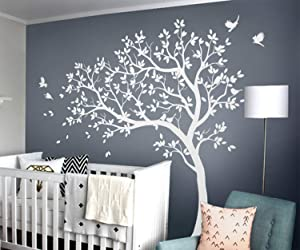 Studio Quee White Tree Wall Decals Large Nursery Tree Decals with Birds Stunning White Tree Decals Wall Tattoos Wall Mural Removable Vinyl Wall Sticker KW032_1