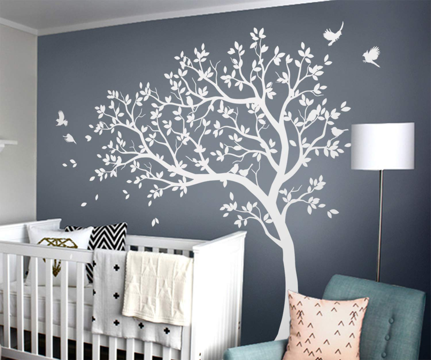 Studio Quee White Tree Wall Decals Large Nursery Tree Decals with Birds Stunning White Tree Decals Wall Tattoos Wall Mural Removable Vinyl Wall Sticker KW032_1 by Studio Quee
