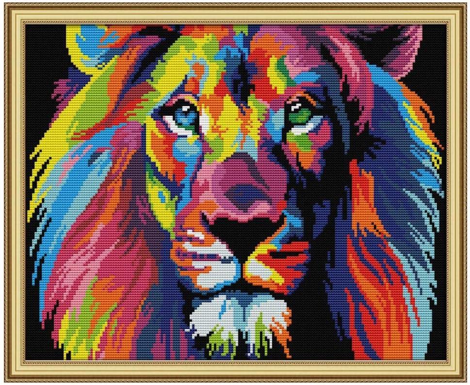 Yalatan DIY 14CTFantasy Lion Kreuzstich Sticknadel Kunsthandwerk f/ür Home Wall Decor 20 X 16 Zoll gestempelt Kits vorgedruckt Kreuzstich Lion Muster f/ür Anf/änger