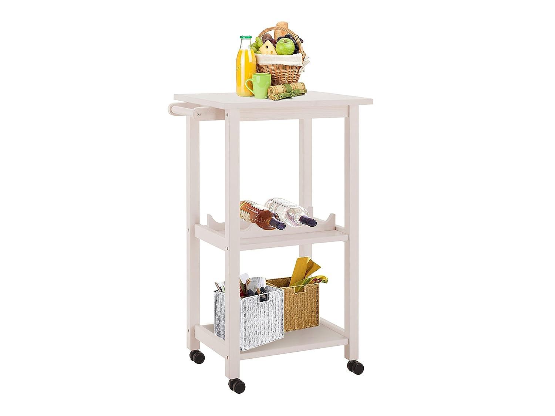 LifeStyleDesign 636113 Alabama Küchenwagen 86 x 40 x 55 cm, Gummi-Holz, MDF bemahlt, Beine aus Massivholz, weiß