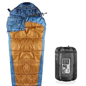 KHOMO Gear - 3 temporada - momia saco de dormir para Camping, Senderismo y actividades al aire libre - Bolsa de compresión incluido azul/marrón: Amazon.es: ...