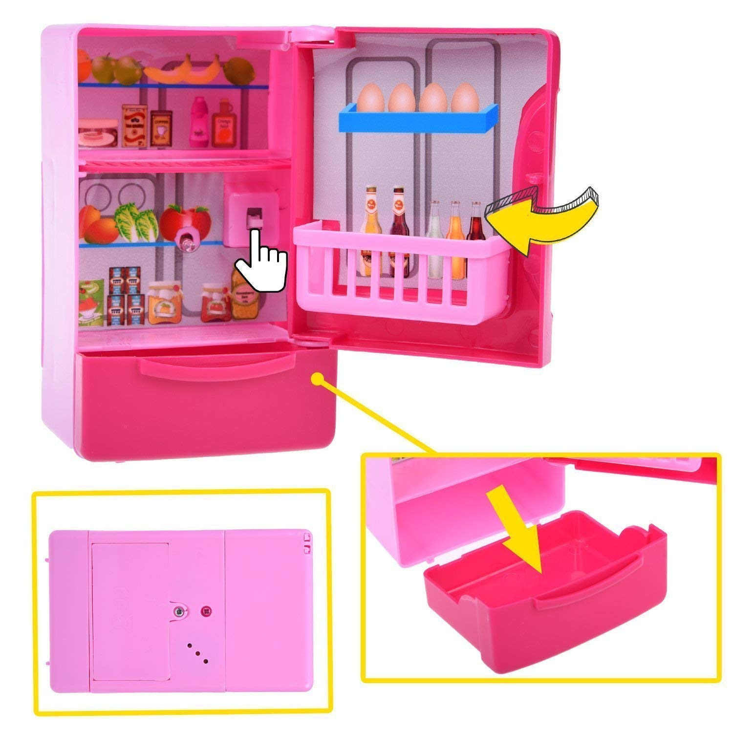 Kitchen Toys for Kids, 6PCs Mini Electric Simulation Play Kitchen Accessories Inculiding Microwave Oven, Toaster, Refrigerator, Rice Cooker, Egg Stepper, Pink Kids Cooking Set Appliances for Girls by FUN LITTLE TOYS (Image #6)