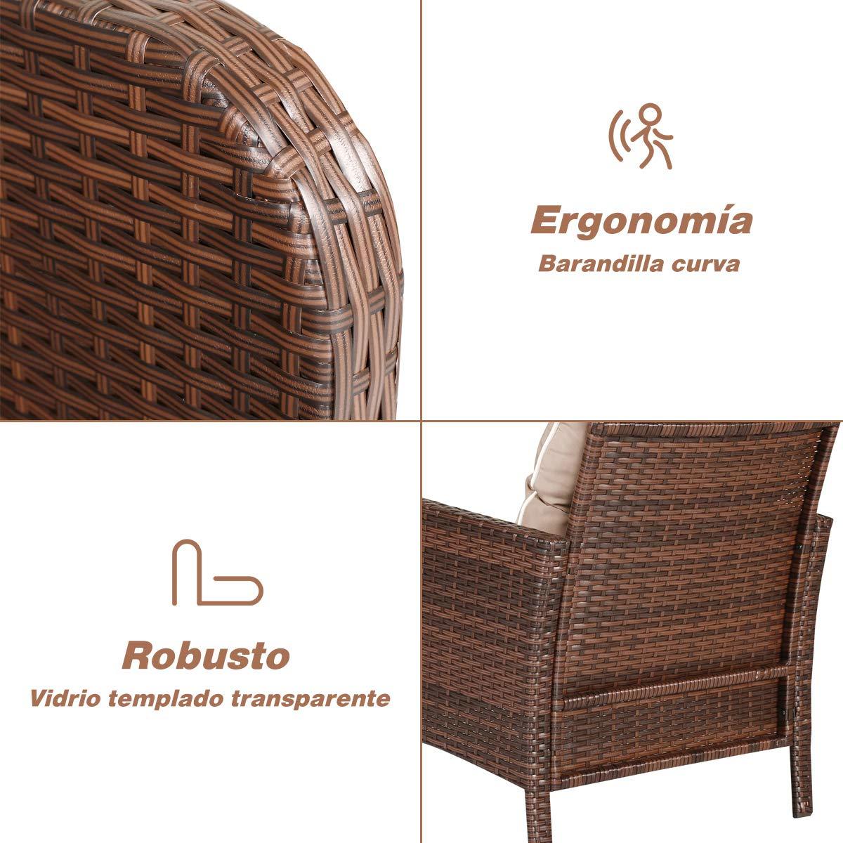 COSTWAY Conjunto Muebles de Rat/án para Comedor Sal/ón Jard/ín Terraza 1 Mesa 2 Sillones y 2 Taburetes para Exterior y Interior