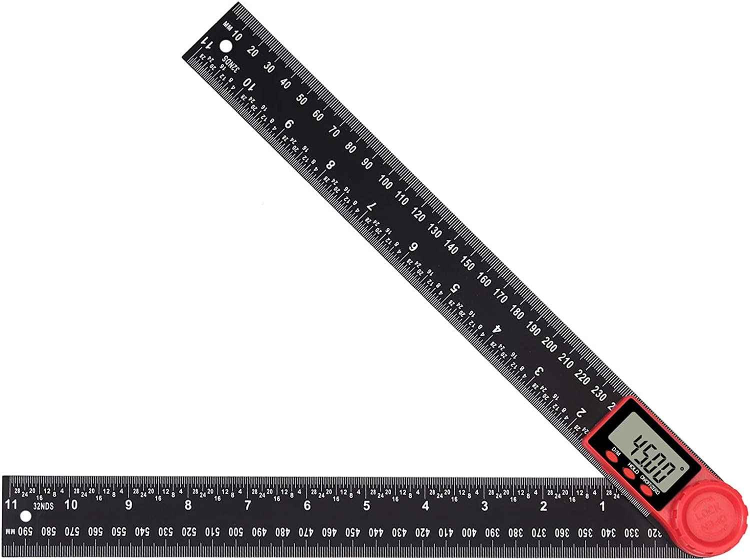 Neoteck 11 LCD Digital Angle Finder Protractor Ruler for Crown Woodworking with Zeroing and Data Holding Function Carbon Fiber and ABS