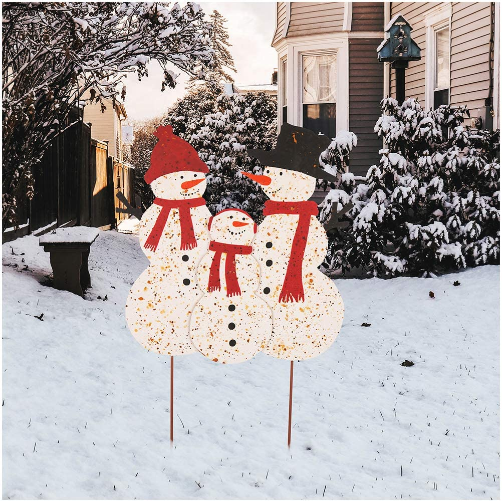 Glitzhome Rustic Metal Snowman Family Garden Decor Yard Stakes Outdoor Christmas Decoartive Farmhouse Patio Lawn Decor 29 92 H Garden Outdoor