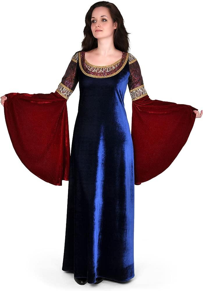 El señor de los anillos - vestido de noche de la elfa Arwen - traje de gala con mangas amplias, largo hasta los tobillos, brocado, con encaje, azul y ...