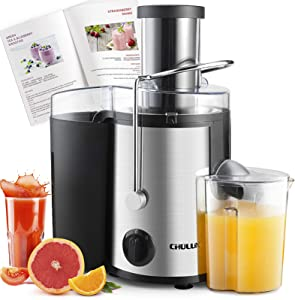 CHULUX Juicer Machine, Centrifugal Juice Extractor Maker with Recipe Book, Wide Mouth Juicing Machine, High Juice Yield, BPA-Free, Easy to Clean, for Fruit Vegetable