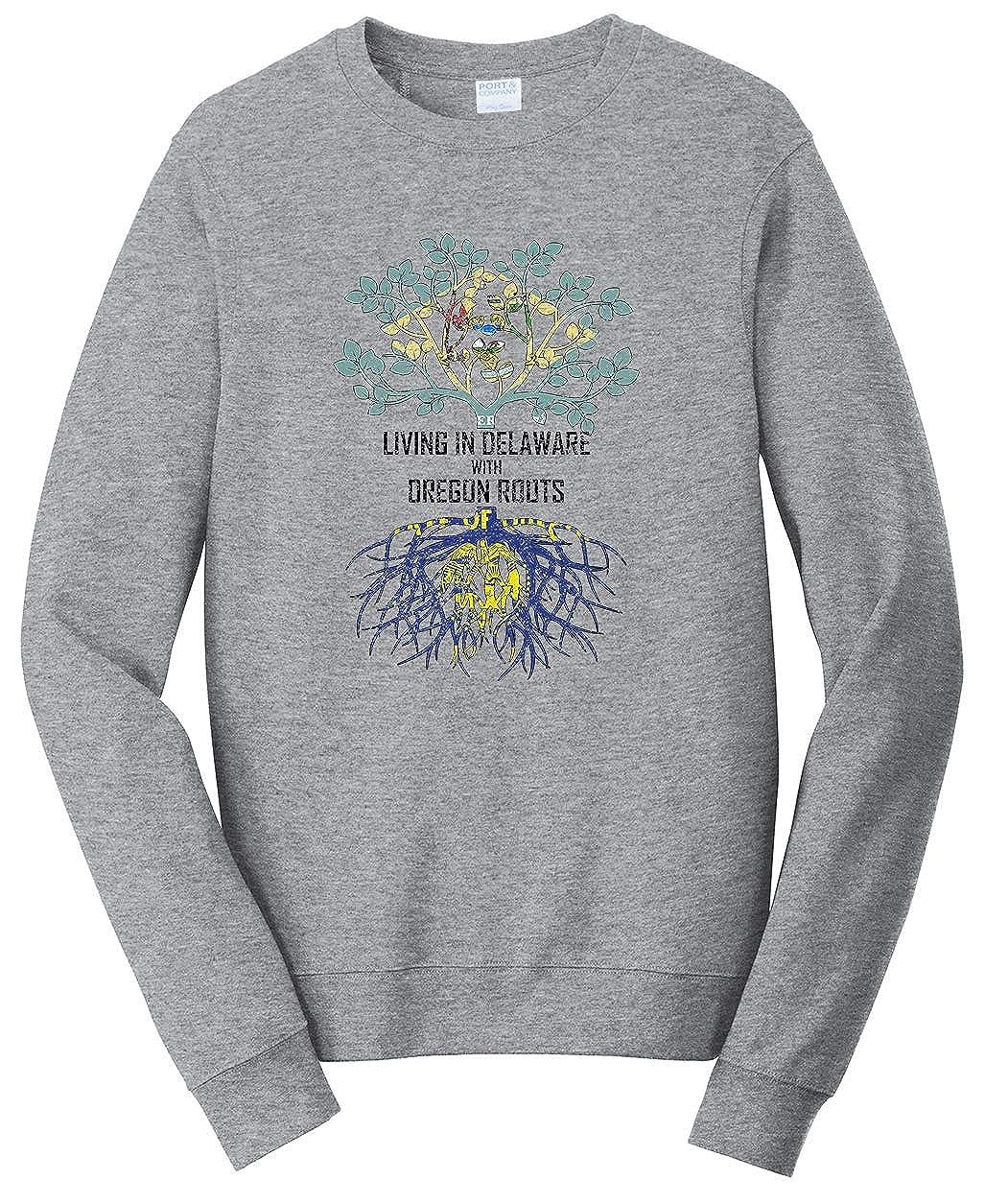 Tenacitee Girls Living in Delaware with Oregon Roots Hooded Sweatshirt