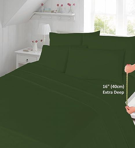 Delightful Goldstar® Dark Green Super King Extra Deep 16u0026quot; (40cm) Percale 180  Thread